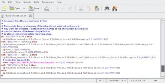 Wycinek kodu źródłowego skryptu make_chroot_jail.sh