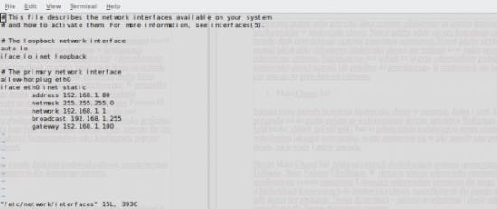 Widok pliku /etc/network/interfaces po zamianie domyślnych ustawień adresu IP pobieranego z DHCP na adres statyczny