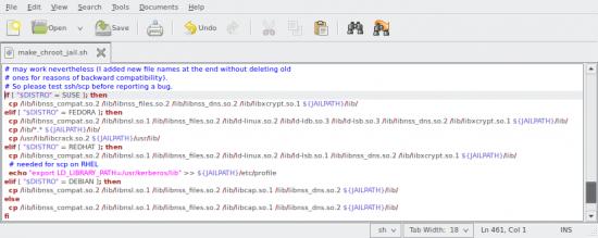 Wycinek kodu źródłowego skryptu makre_chroot_jail.sh