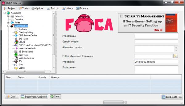 Zrzut ekranowy z FOCA