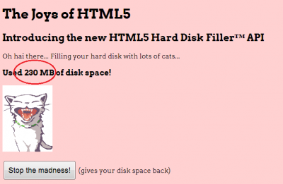 HTML5 Hard Disk Filler w akcji