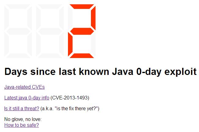 Odliczanie dni od ostatniego Java 0-day