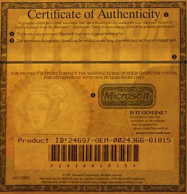 Certyfikat autentyczności Microsoftu z podobizną Ady Lovelace