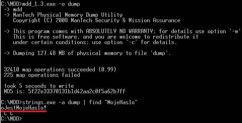 Zrzut pamięci operacyjnej zawiera moje hasło