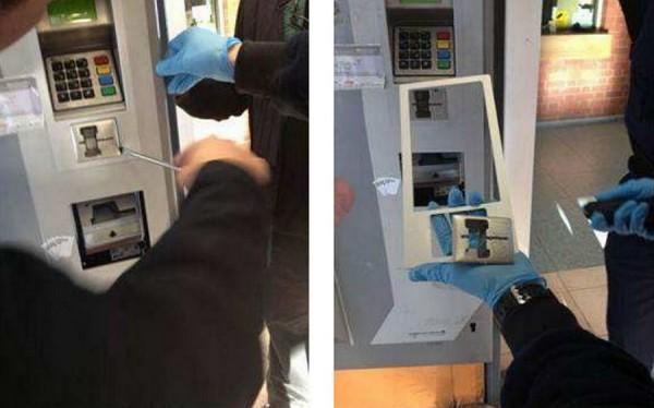 Automat do sprzedaży biletów kolejowych z zamontowanym skimmerem