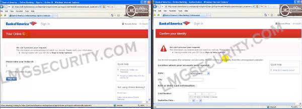 Witryna Bank of America -- po prawej stronie wynik ataku MitB