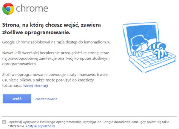 Google Chrome ostrzega przed zagrożeniem