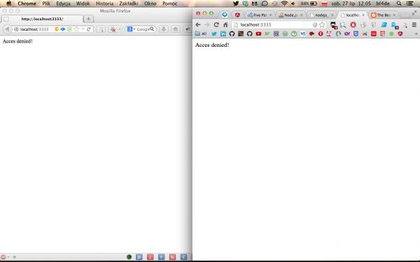 8. Okno przeglądarki Chrome (po prawej) to przeglądarka Ewy, czyli użytkownika uprawnionego, znającej dane dostępowe do aplikacji. Okno po lewej (Firefox) to widok z perspektywy Aleksa, czyli naszego użytkownika nieuprawnionego.