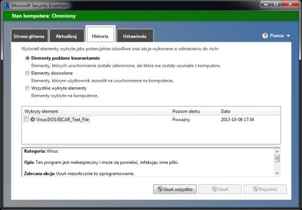 Microsoft Security Essentials w akcji