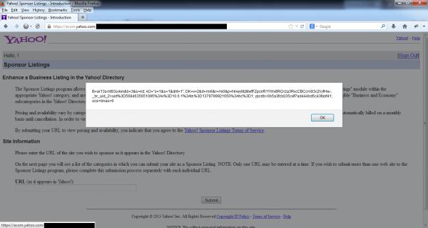 Jedna z podatności obecnych w ecom.yahoo.com