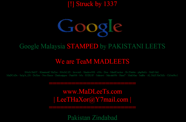 Google Malezja hacked