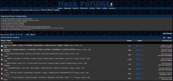 """Hackforums.net — sprzedaż usług """"Server Stress Testing""""."""
