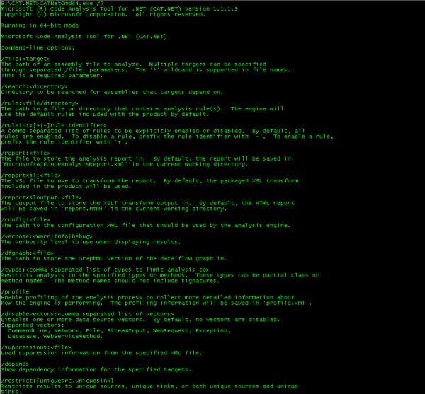Opcje programu CAT.NET.