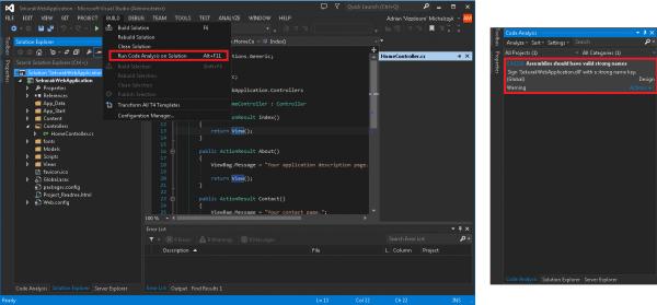 Uruchamianie FxCop przez Visual Studio 2013.