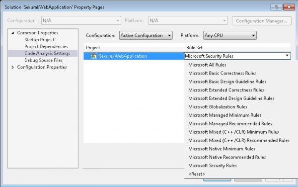 Konfiguracja reguł FxCop dla każdego projektu w solucji Visual Studio.
