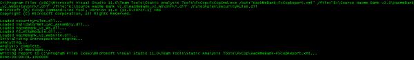 Analiza FxCop z poziomu konsoli.