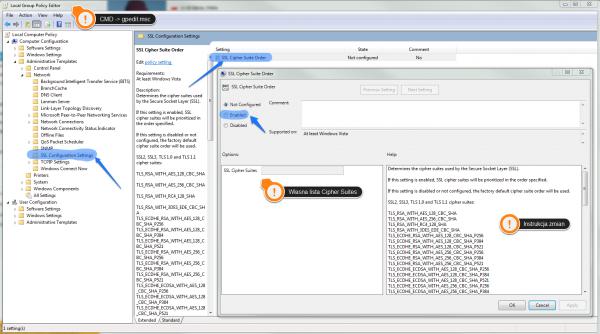 """Przykład """"wygodnych"""" szablonów administracyjnych w kontekście ustawień SSL systemu Windows."""