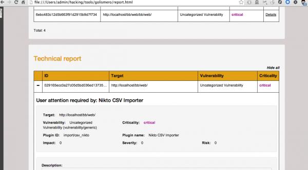 Rysunek 2. Fragment raportu w formacie HTML, uwzględniający dane zaimportowane z pliku nikto_scan.csv, wygenerowanego przez skaner nikto.