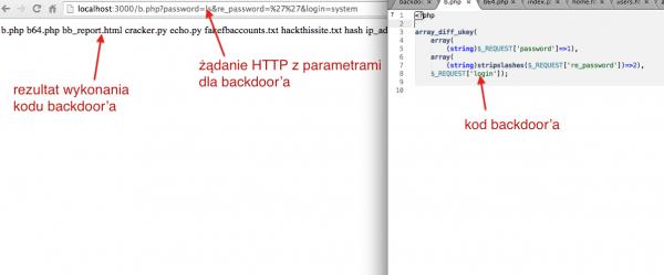 6. Rezultat wywołania strony zainfekowanej kodem backdoora wykorzystującego array_diff_ukey() oraz funkcję system() przekazaną jako jeden z argumentów. z listingu (2).