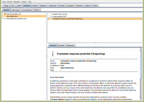 "Burp Suite - Moduł ""Scanner"""