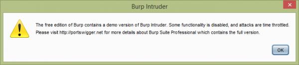 Główne ogranieczenie modułu Intruder w wersji Burp Free