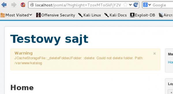 Joomla ostrzega o próbie usunięcia folderu. Sukces!