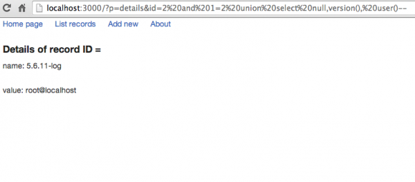 1. W podstawowej instalacji aplikacja testowa jest podatna m.in. na atak SQL Injection.