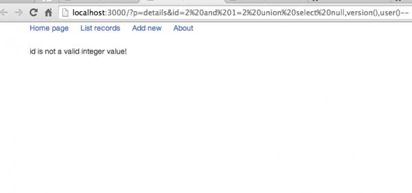 3. Zabezpieczony przed atakiem SQL Injection widok szczegółowy rekordu z danymi.