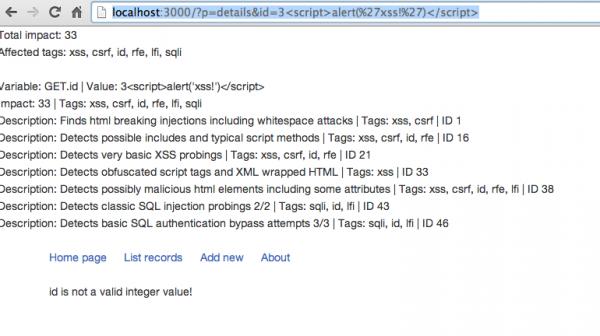 6. Reakcja PHPIDS na próbę ataku XSS.