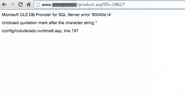 Strona ASP.NET podatna na atak SQL Injection - test z apostrofem w parametrze o nazwie ID