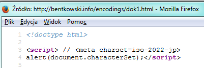 Definicja kodowania w tagu script