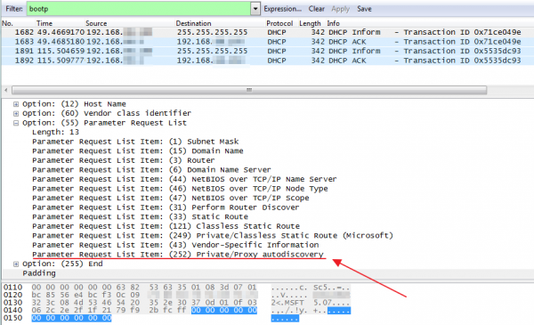 Rys 2. Prośba do serwera DHCP o przesłanie informacji o proxy