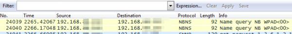 Rys 4. Wysłane żądanie NetBIOS o nazwę WPAD