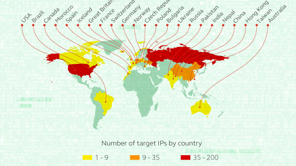 Lista krajów zaatakowanych przez Carbanak, źródło: Kaspersky Labs