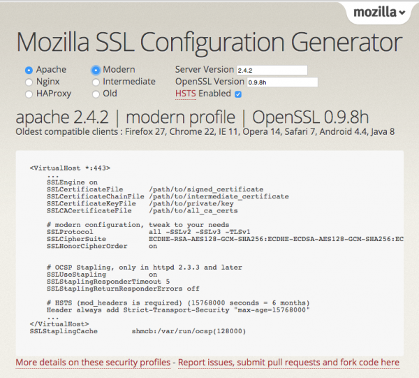 Mozilla SSL Configuration Generator