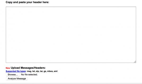 Rys 1. Wygląd aplikacji Postini Header Analyzer