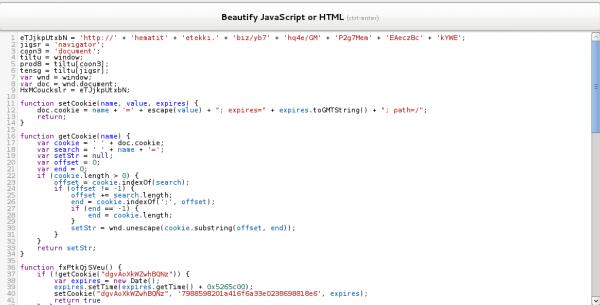 Ułożenie kodu w bloki przez JSBeautifier.