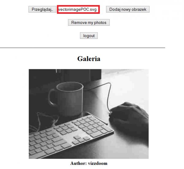 Upload złośliwego pliku SVG do serwisu