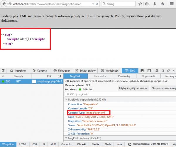 Interpretacja pliku SVG jako dokumentu XML w przeglądarce