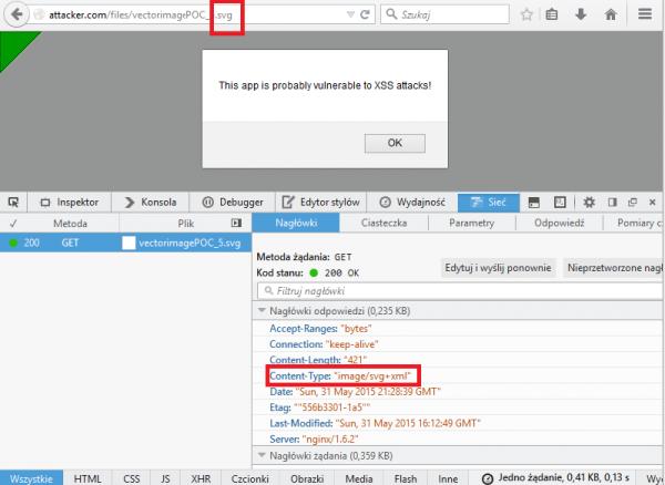 Błąd Storage XSS mimo ustawienia poprawnych nagłówków odpowiedzi HTTP