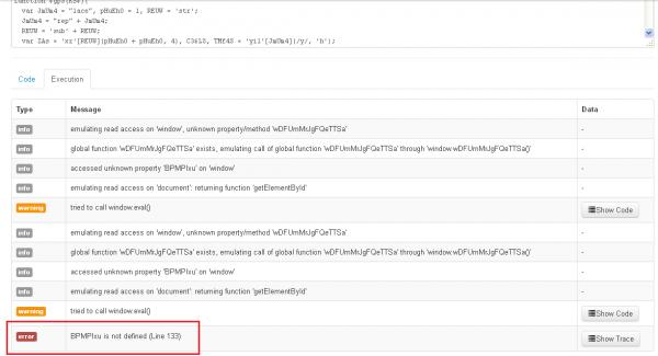 2. Za pierwszym razem cały kod nie został zasymulowany w JSDetox.
