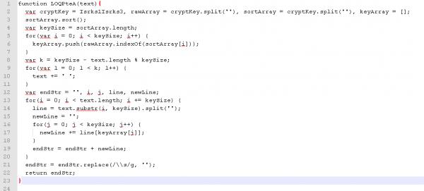 7. Funkcja LOQPteA, odpowiedzialna za odszyfrowanie URLa z explotem, po zmianie definicji oraz uporządkowaniu kodu.