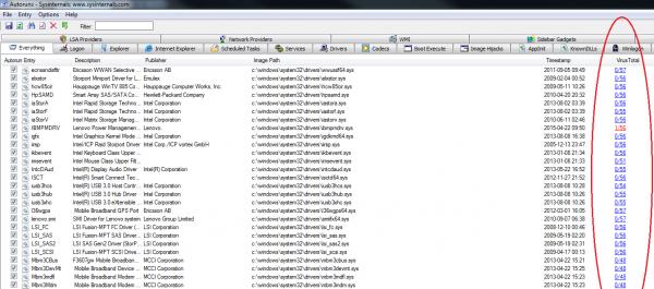 Autoruns również współpracuje z VirusTotal