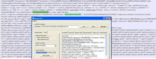 Foto2. Ustanowione przez Revelo cookie sesyjne. Pod spodem widoczny oryginalny kod JS z zaznaczonymi fragmentami, gdzie owe cookie się pojawia