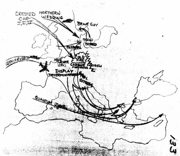 Mapa natowskich gier wojennych z 1983 roku