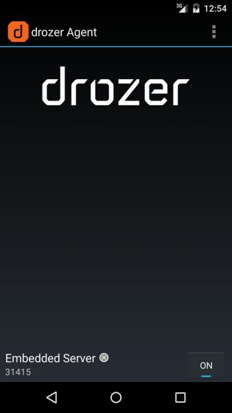 Uruchomienie agenta Drozer (serwer nasłuchuje na polcenia na porcie 31415)
