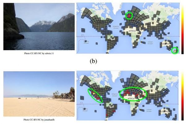 PlaNet dla każdego z analizowanych obrazów określa rozkład prawdopodobieństwa dla poszczególnych znanych lokalizacji