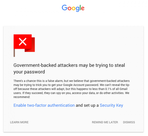 Google warning